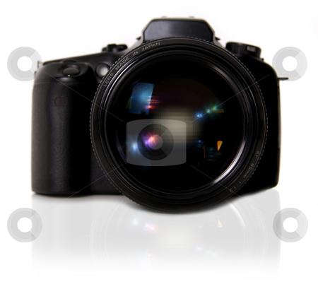 DSLR Camera on White Background stock photo, DSLR Camera on White Background With Mirror Shadow by Katrina Brown