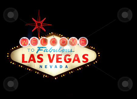 Welcome To Las Vegas Neon Sign stock photo, Welcome To Las Vegas Neon Sign at Night Time by Katrina Brown