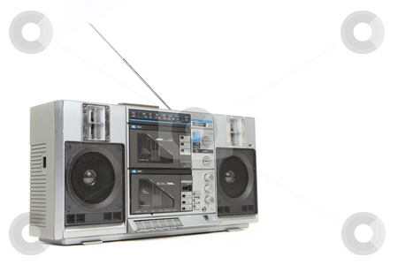 Vintage Boom Box Cassette Tape Player stock photo, Vintage Boom Box Cassette Tape Player Isolated on White Background by Katrina Brown