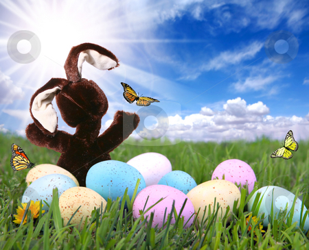 Field With Easter Bunny Rabbit Eggs and Butterflies stock photo, Bright Field With Easter Bunny Rabbit Eggs and Butterflies by Katrina Brown