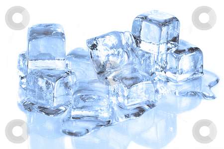 Cool Ice Cubes Melting on a  White Reflective Surface stock photo, Ice Cubes Melting on a Reflective Surface White Background by Katrina Brown