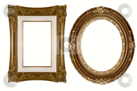 Oval and Rectangular Decorative Golden Frames stock photo, Oval and Rectangular Decorative Golden Frames Isolated on White Background by Katrina Brown