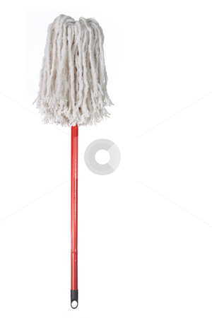 Large Mop Upside Down Isolated on White stock photo, Large Mop Upside Down Isolated on White Background by Katrina Brown