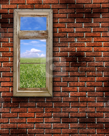 Red Grunge Brick Wall Frame Background Texture stock photo, Red Brick Wall Grunge Textured Background With Beautiful View by Katrina Brown