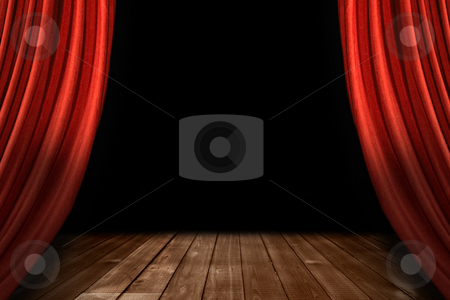 Red Theater Stage Drapes With Wooden Floor stock photo, Swooping Theater Stage Drapes With Wooden Floor and Black Background by Katrina Brown