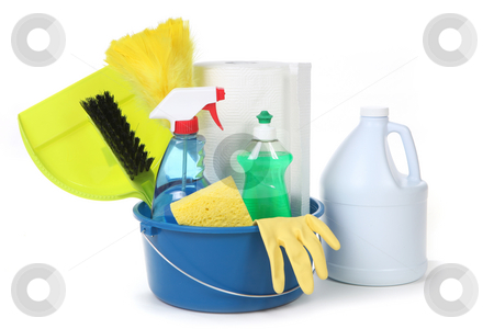 Cleaning Supplies for the Household stock photo, Cleaning Supplies for the Household on White Background by Katrina Brown