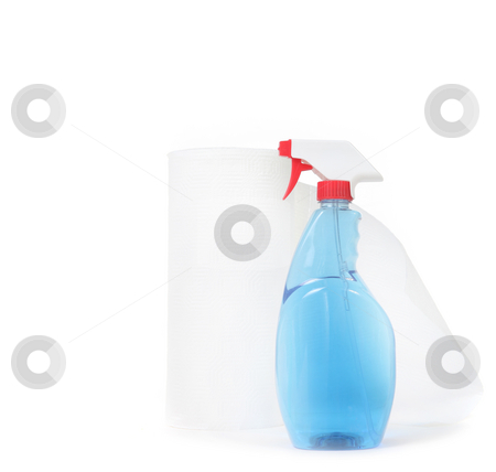 Window Cleaner and Paper Towels on White Background stock photo, Window Cleaner and Paper Towels on White Background With Copy Space by Katrina Brown