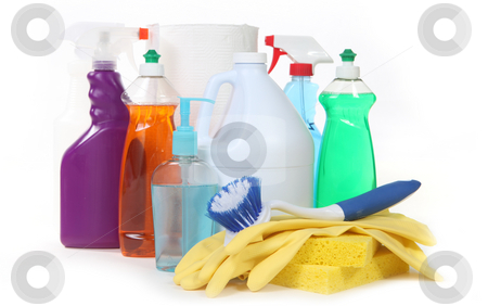 Various Household Cleaning Products stock photo, Various Household Cleaning Products on White Background by Katrina Brown