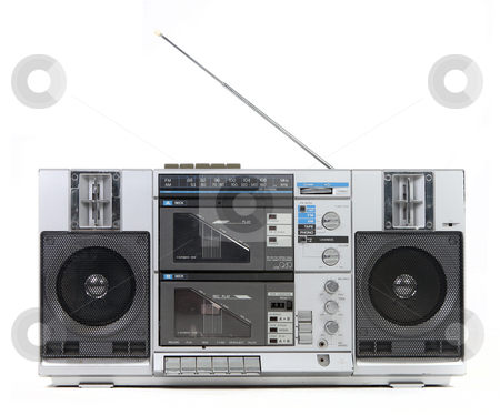Front View of a Vintage Boom Box Cassette Tape Player stock photo, Front View of a Vintage Boom Box Cassette Tape Player Isolated on White Background by Katrina Brown