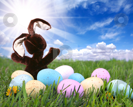 Bunny Rabbit in the Grass With Easter Colored Eggs stock photo, Easter Bunny Rabbit in the Grass With Colored Eggs by Katrina Brown
