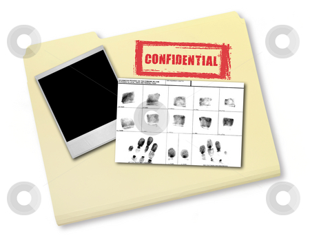Elements of an Investigation I stock photo, Elements of an Investigation Including FIngerprints Photo and Confidential File by Katrina Brown