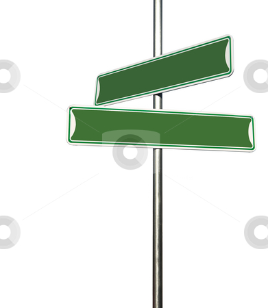 Green Blank Directional Metal Sign Post stock photo, Blank Directional Metal Sign Post Isolated on White Background by Katrina Brown