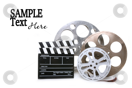 Canisters of Film With Directors Clapboard on White Background stock photo, Movie Production Film Canisters With Directors Clapboard on White Background and Copy Space by Katrina Brown