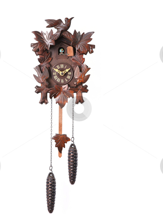 Cuckoo Clock Isolated on a White Background stock photo, Cuckoo Clock Isolated on a White Background With Hanging Weights by Katrina Brown