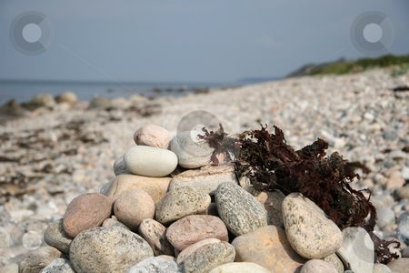 Pile of stones at the beach stock photo, A pile of stones lying on the beach and some sea grass by Anders Peter