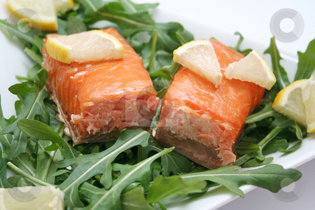 Salmon and rucola stock photo, Salmon and rucola by Yvonne Bogdanski