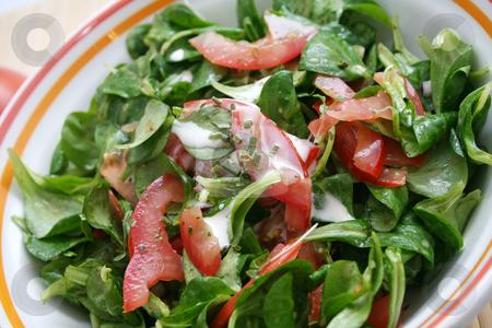 Fresh salad  stock photo, Fieldsalat with tomatoes by Yvonne Bogdanski