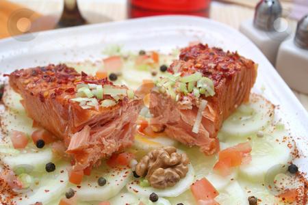 A snack stock photo, Salmon snack by Yvonne Bogdanski