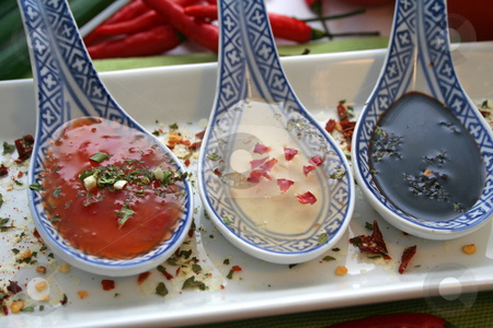 Asian sauces stock photo, Asian sauces by Yvonne Bogdanski
