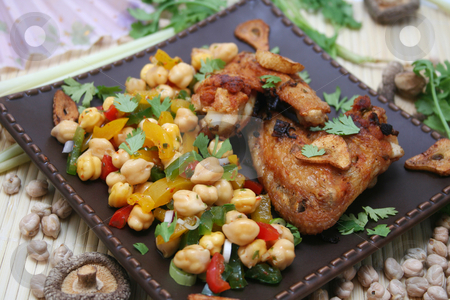 Fresh meal stock photo, A fresh meal of chicken and chick peas by Yvonne Bogdanski