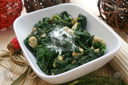 Fresh spinach stock photo, Fresh spinach with meat by Yvonne Bogdanski
