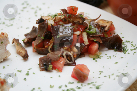 Fresh salad stock photo, Salad of mushrooms and tomatoes by Yvonne Bogdanski