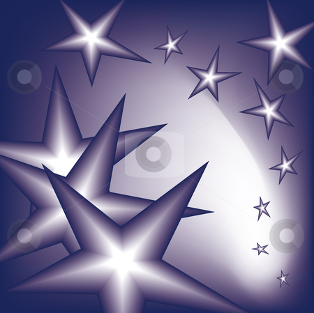 Falling stars stock vector clipart, Falling stars from the sky in blue by Karin Claus