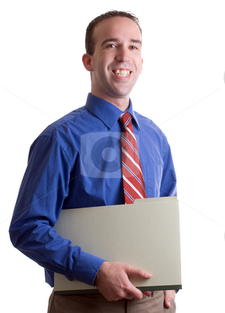 Working Business Man stock photo, A happy working business man holding a folder and smiling, isolated against a white background by Richard Nelson