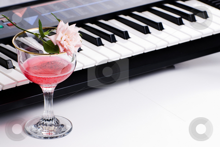 Pretty Music stock photo, An electronic keyboard along with a fresh rose and a glass of pink wine, shot on white by Richard Nelson