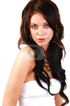 Beautiful girl. stock photo, An close-up shoot of a very lovely woman with long brown hair and a nice gold necklace wearing the white strapless dress. by Horst Petzold