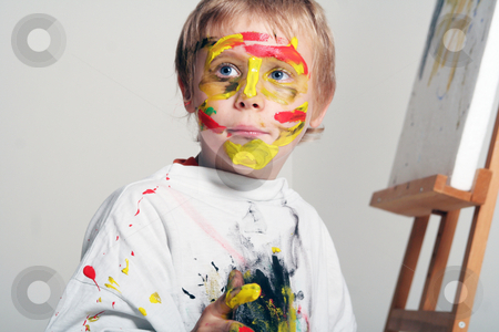 Little Painter stock photo, Kinderfotografie by Yvonne Bogdanski