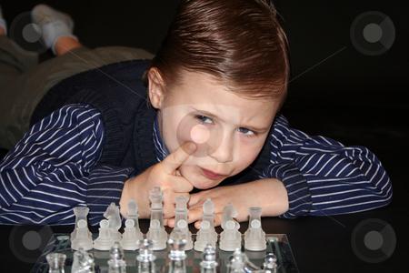 Playing chess stock photo, Kinderfotografie by Yvonne Bogdanski