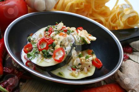 Aubergines stock photo,  by Yvonne Bogdanski