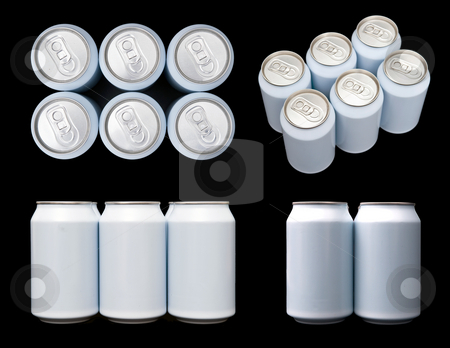 Projections of a six pack blank beverage cans stock photo, Four projections (top, front, side and ortagnal) of a sixpack blank beverage cans. by Corepics VOF
