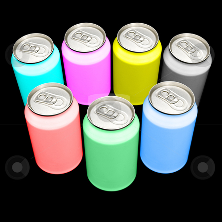 CMYK and RGB cans stock photo, Beverage cans in the colors CMYK and RGB- illustrating the composition of colors in print processes and on screens - against a white background. Clipping path included in largest resolution by Corepics VOF