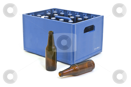 Blue crate stock photo, Blue Beer crate with two empty bottles in front by Corepics VOF