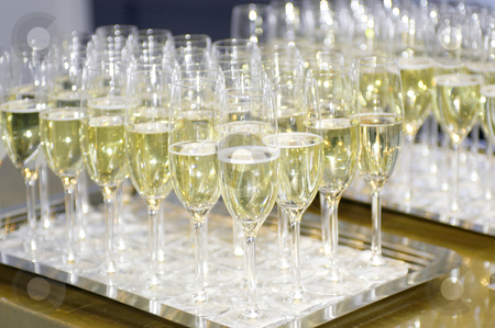 Champagne stock photo, A row of champagne glasses by Corepics VOF
