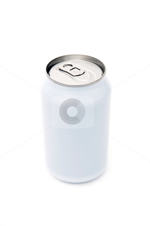 Single beverage can stock photo, A single, blank, beverage can on a white background by Corepics VOF