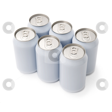Sixpack beverage cans stock photo, A six pack of unprinted beverage cans by Corepics VOF