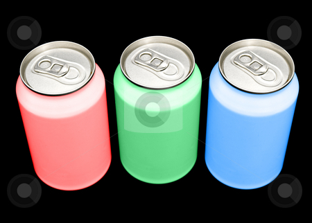 RGB cans stock photo, Beverage cans in the colors RGB - illustrating the composition of colors on a monitor or screen - against a black background. Clipping path included in largest resolution by Corepics VOF