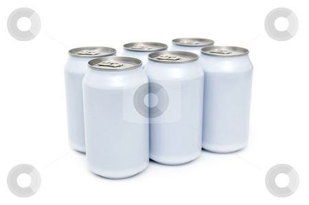 Six pack beverage cans high key stock photo, A six pac of off-white beverage cans on a white background by Corepics VOF