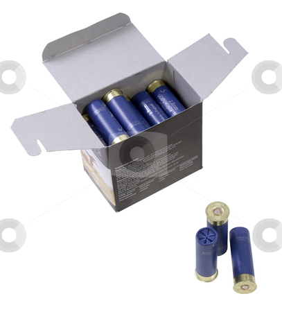 Shotgun shells in a box stock photo, Neatly stacked shotgun shells in a box, to be used for hunting. Clipping path included by Corepics VOF
