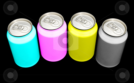 CMYK cans stock photo, Beverage cans in the colors CMYK- illustrating the composition of colors in print processes - against a white background. Clipping path included in largest resolution by Corepics VOF
