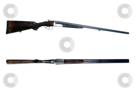 Side by side shot gun stock photo, An old 16-gauge side by side shotgun, used to shoot woodcock by Corepics VOF