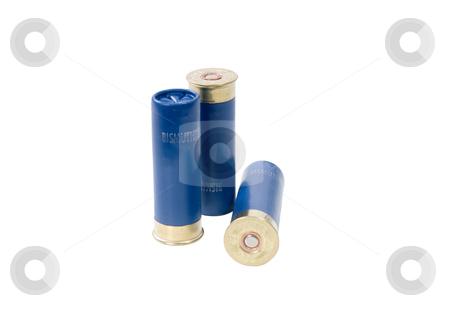Shotgun shells stock photo, Three 16-gauge shotgun shells by Corepics VOF