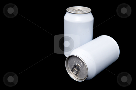 Two white beverage cans stock photo, Two white beverage cans with the focus on the easy open end of the front can against a black background by Corepics VOF
