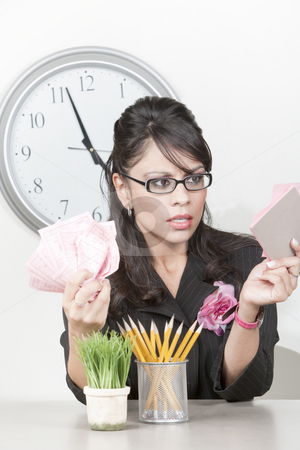 Pretty Hispanic businesswoman with too much to do stock photo, Pretty Hispanic businesswoman with many to do notes by Scott Griessel