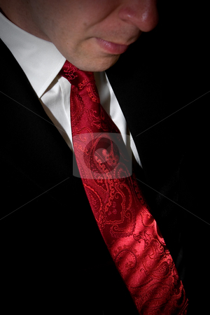 Well Dressed Man stock photo, Closeup detail of a groom or business man in a tuxedo with a red tie. by Todd Arena