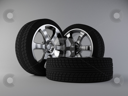 Wheels stock photo, 3d render of aluminum wheels by Hunor Focze