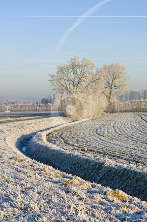 Frosted field stock photo, A curving ditch, surrounding a frosted field on a clear winter day by Corepics VOF